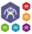 machine icons set hexagon vector image vector image