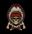 native indian chief skull with crossed tomahawks vector image vector image