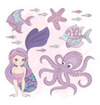 ocean mermaid princess summer cruise vector image vector image