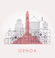 outline genoa skyline with landmarks vector image vector image