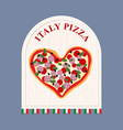 Pizza in Italy Pizza in shape of a heart Sign for vector image vector image