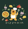 pizza ingredients vector image vector image