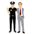 Policeman arresting businessman vector image vector image