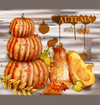 pumpkin watercolor autumn poster fall vector image vector image
