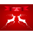 Reindeer silhouettes on a red background vector image