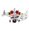 rock n roll forever electric guitar with roses vector image vector image