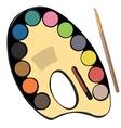 School paint kit for artist with paints pencils vector image