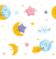 seamless pattern with cute moon star cloud earth vector image vector image