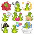 set cute cartoon crocodile vector image vector image