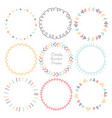 set of colorful doodle borders circle frame vector image vector image