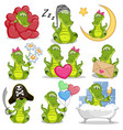 Set of cute cartoon crocodile