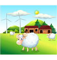 Sheeps at the farm with windmills vector | Price: 1 Credit (USD $1)