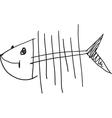 simple fish skeleton vector image vector image