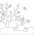 snowman with bird coloring page vector image vector image
