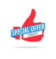 special offer 50 off label red color isolated on vector image vector image