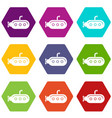 submarine with periscope icons set 9 vector image vector image