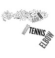 tennis elbow text background word cloud concept vector image vector image
