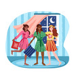 three female friends at pajama party at home vector image