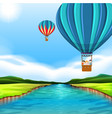 travelling with hot air balloon vector image