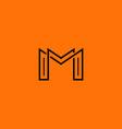 two letter m monogram style mockup logo design vector image vector image