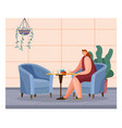 woman is sitting in cafe with cup cozy armchairs vector image