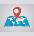 world map with pointer on white background vector image vector image