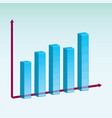 3d bar graph chart diagram vector image