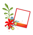 A Red Blank Photos with Mistletoe Bunch vector image vector image