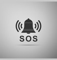 alarm bell and sos lettering icon isolated vector image vector image