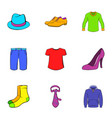 articles of clothing icons set cartoon style vector image vector image