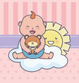 baby shower little boy with teddy bear sun cloud