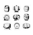 barrels silhouettes wooden symbols vector image