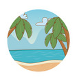 beach cartoon round label vector image