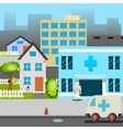 Cartoon Street Hospital Ambulance Car Doctor vector image