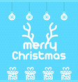christmas card with pattern background blue vector image