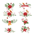Colorful Christmas banners and laurels vector image