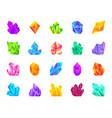 crystal gemstone mineral flat cartoon icon set vector image
