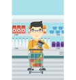 Customer counting on calculator vector image vector image