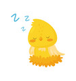 cute chicken sleeping in the nest funny bird vector image vector image