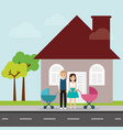 family and house with chimney and road vector image
