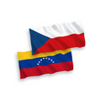 flags venezuela and czech republic on a white vector image vector image