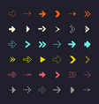 flat design arrows set on black background vector image vector image