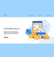 flat landing page presenting multicurrency wallet vector image