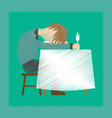 flat shading style icon man sleeping at desk vector image vector image