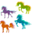 Four Colorful Horses vector image