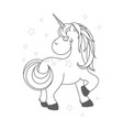 Funny and hapy outlined cartoon style unicorn