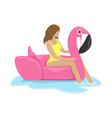 girl in a swimsuit in a rubber ring vector image