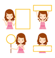 Girl in pink dress showing blank signs set vector image