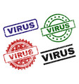 grunge textured virus stamp seals vector image vector image