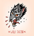 head of tearing wolf vector image vector image